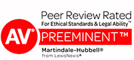 AV Peer Review Rated for ethical standards & ability TM | Preeminent TM | martindale Hubbell from LexisNexis